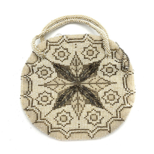 1920s - 30s Starburst Motif Beaded Round Handbag