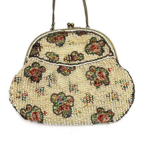 1920s Beaded Floral Motif Chain Handle Purse
