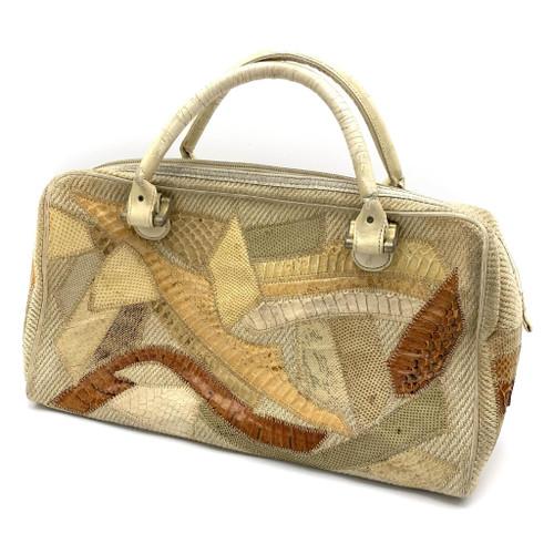 1980s Bags By Varon Snakeskin Patchwork Bowler Bag