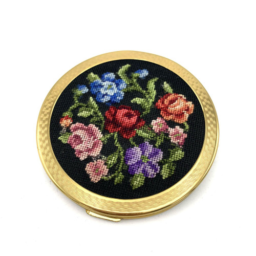 1970s- 80s Embroidered Floral Makeup Compact