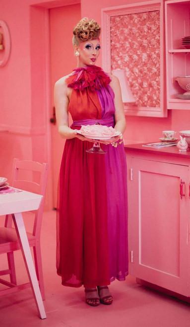 1970s GIVENCHY Ruffle Collar Pure Silk Color Block Halter Dress