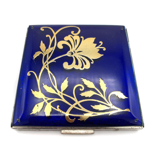 1940s Gold Floral Design Sterling Silver Jumbo Compact