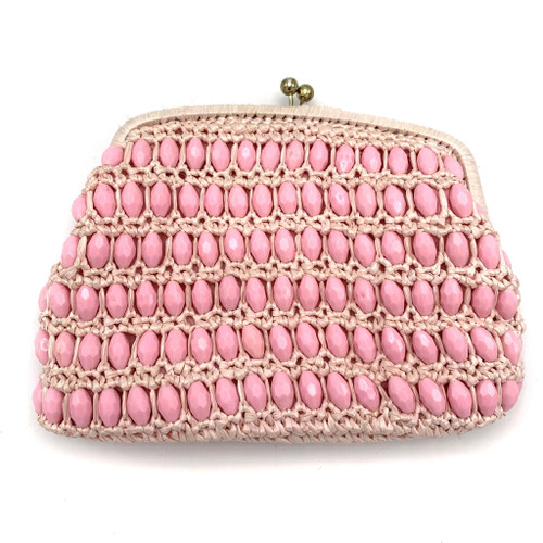 1960s Pink Beaded Straw Convertible Clutch Purse