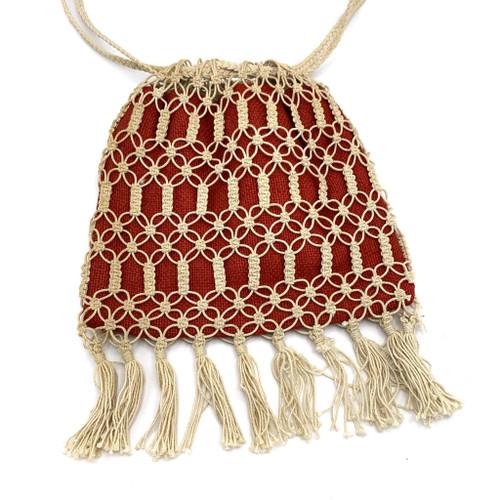1970s Woven Rope Tassel Drawstring Bag
