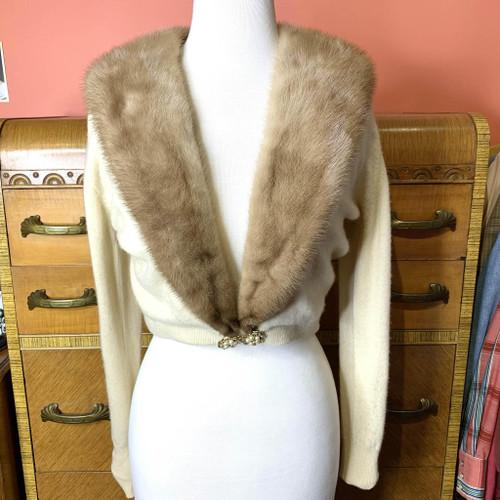 1950s Cashmere Mink Collar Cardigan Sweater