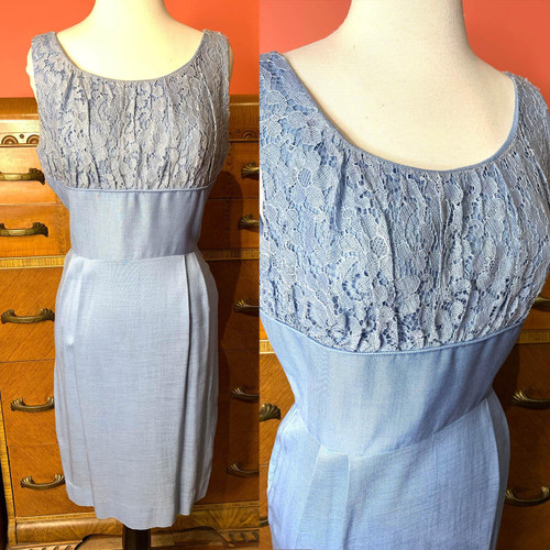 Mid Century Lace Bust Fitted Sleeveless Wiggle Dress