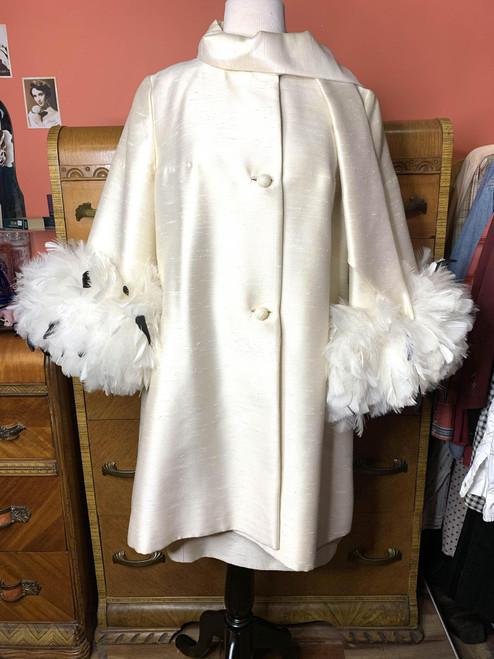 1960s Lilli Ann Cream Silk Feather Sleeve Cape & Dress 2pc Set