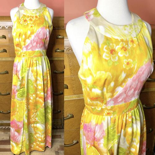 1970s Tori Richard Pastel Hawaiian Floral Print Maxi Dress
