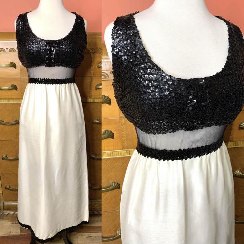 1960s-70s Jean Varon Sequin Top Sheer Organza Waistline Two Tone Maxi Dress