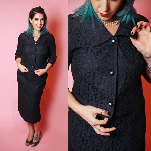 Black Lace Crop Sleeve Rhinestone Button Skirt Suit