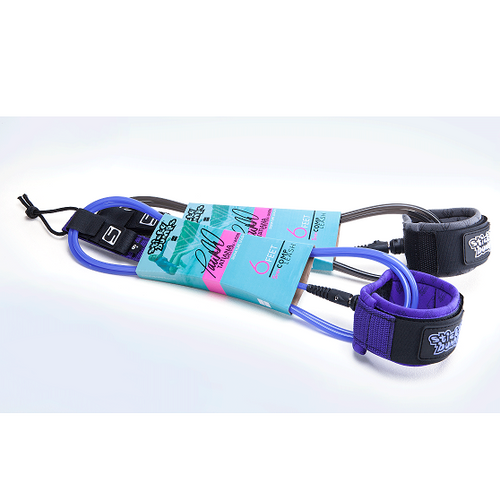 tatiana weston webb signature 6 foot comp leash purple and grey