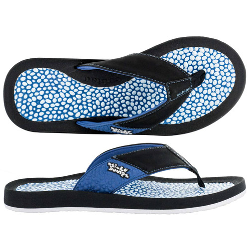 sticky bumps cobian sandal black with blue and white bumpy footbed