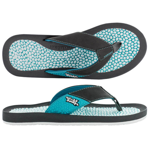 sticky bumps cobian sandal grey with teal and white bumpy footbed