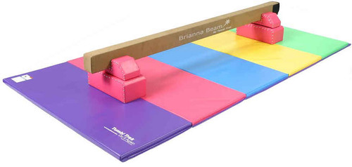 Pink Brianna Beam and Optional Legs with 5ft x 10ft Bright Pastel Tumbling Mat