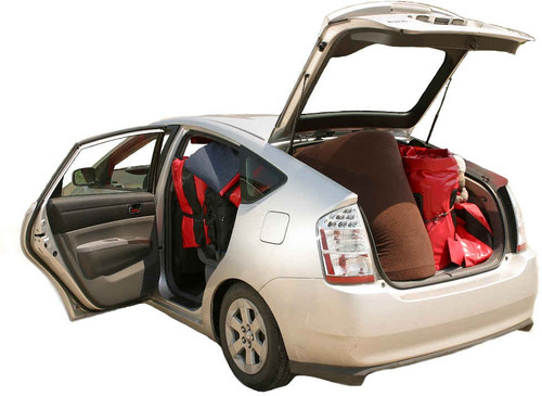 All the products in this bundle easily pack up and fit into a vehicle; even one as small as a Prius.