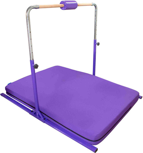 The Gymnastics Home Kip Bar shown with the purple Home Practice Mat.