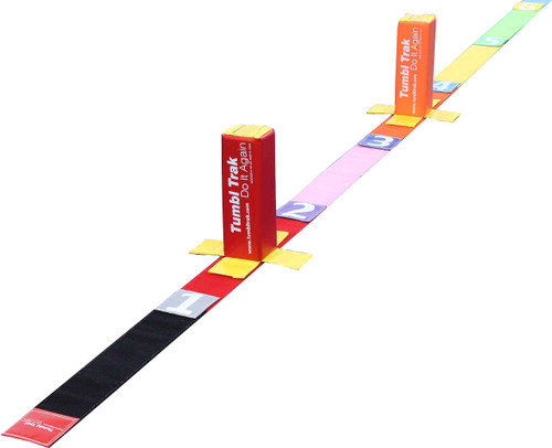 The Tumble Straight Bundle includes a 20 ft Tumbl Tape, Velcro Numbers, and two 1ft Fun Sticks.