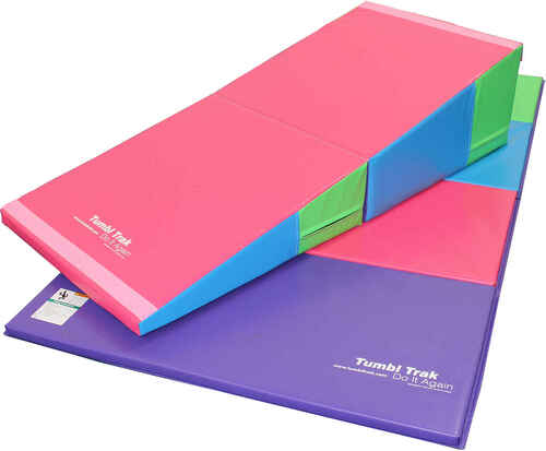 Shown: 30in x 68in x 16in Bright Pastel Folding Incline with a 4ft x 8ft x 1-3/8 in Bright Pastel Tumbling Mat