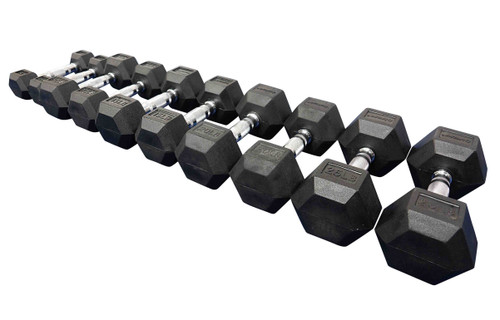 Sized Right Dumbbells are sold in 5 lb., 10 lb., 15 lb., 20 lb. and 25 lb. weights.