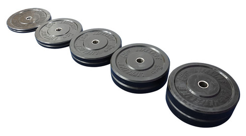 The weight of these bumper plates ranges from 10 lbs to 45 lbs.