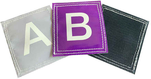 "Durable, easy to clean vinyl 4"" squares with hook Velcro backing."