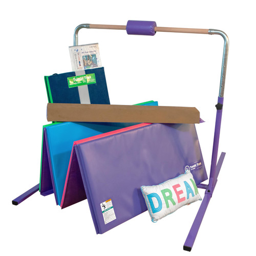 This bundle includes our basic Jr. Training Bar, Tumbling Mat, Foam Balance Beam and Handstand Homework Mat.