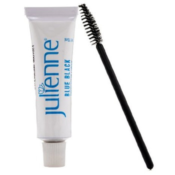 New Julienne Eyelash Eyebrow Tinting Kit Dye Blue Black 02 Brush Tint Dish Oxidant
