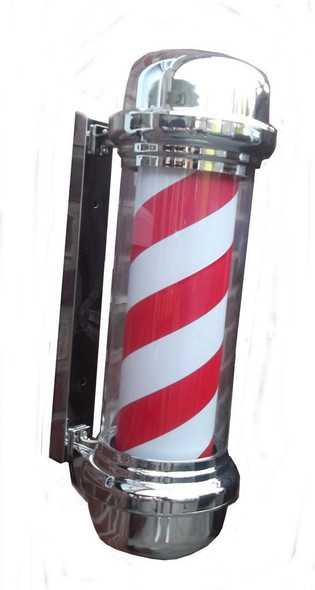 Barbers Pole Illuminating Rotating Salon Sign Light Red White