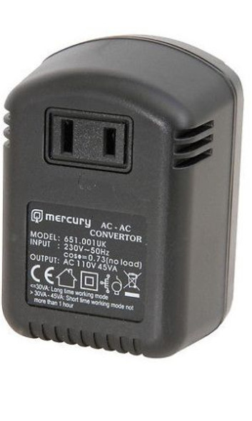 Compact sized plug-in power supply allowing 110 - 120Vac USA electrical equipment to be powered from a 230 - 240Vac UK mains outlet. Conforms to BS1363 clause 12 Note: The output voltage is half the input voltage Power supply: 230Vac, 50Hz Power max.: 45W