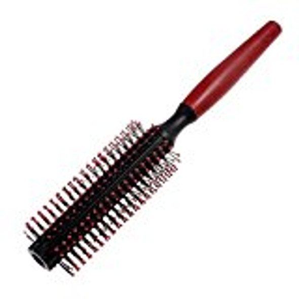Plastic Flexible Curly Hair Roll Brush Comb, Red/ Black