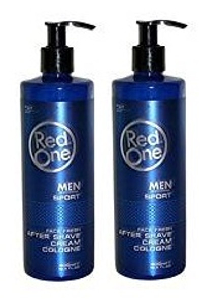 Red One Men Professional Sports Face Fresh After Shave Cream Cologne 400ml (pack of 2)