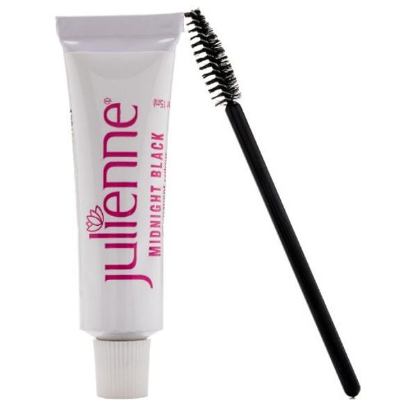 New Julienne Eyelash Eyebrow Tinting Kit Dye Mid Night Black 01 Brush Tint Dish Oxidant