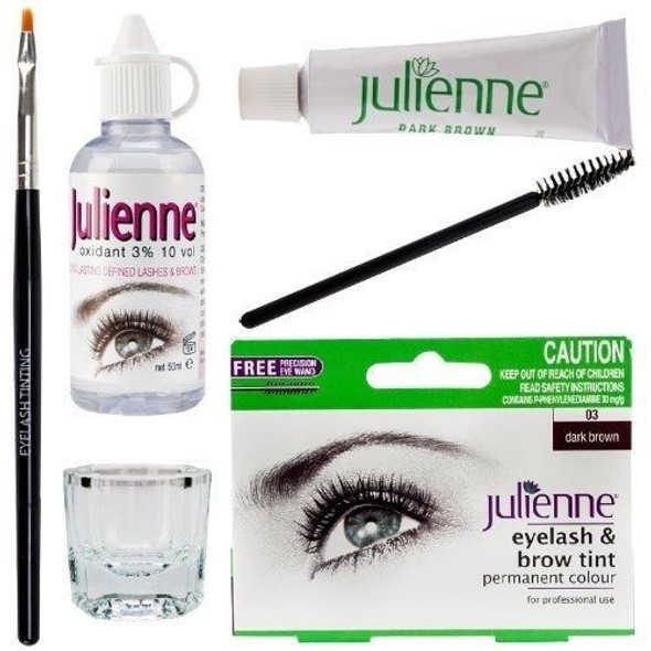 New Julienne Eyelash Eyebrow Tinting Kit Dye Dark Brown 03 Brush Tint Dish Oxidant