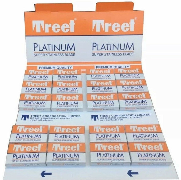 Treet Platinum Double Edge Razor Blades 100 blades Card Pack