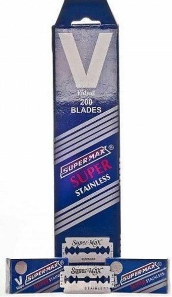 Super Max Super Stainless Double Edge D E Blades - 200 Pcs