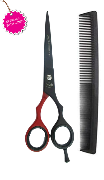 High quality professional barber Scissors German stainless steel durable stylish adjust ART.#614# H.C JAGUAR SCISSORS FINAL PEPER COLOR BLACK & RED Barbar blade WITH FREE COMB