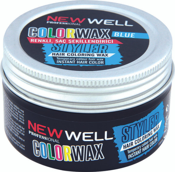 New Well COLORWAX /Blue colour Temporary Colour Hair wax instant hair colour 100ml