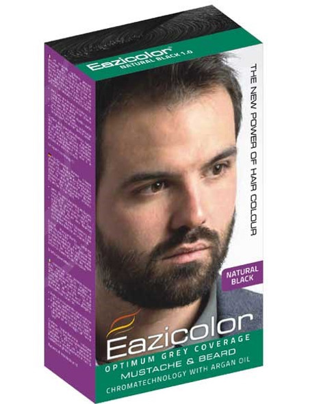 EAZICOLOR MUSTACHE AND BEARD COLOR NATURAL BLACK 1.0