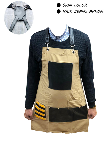 HAIR CUTTING JEANS APRON HIGH QUALITY STRONG THREAD GOOD STICHES PARACHUTTE Stuff WASHABLE SOFT DURABLE EASY TO USE EASY TO WEARING FLEXIBILITY JEANS  SKIN COLORS