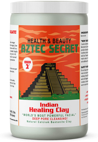 Aztec Secret - Indian Healing Clay 2 lb. (900 Grams) - Deep Pore Cleansing Facial & Body Mask