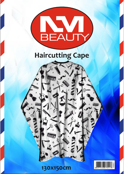 NMB Professional White Printed Barber Tools Gown/Large Cape for Salons,Hairdressers & Barbers with adjustable black metal clip 130X150cm