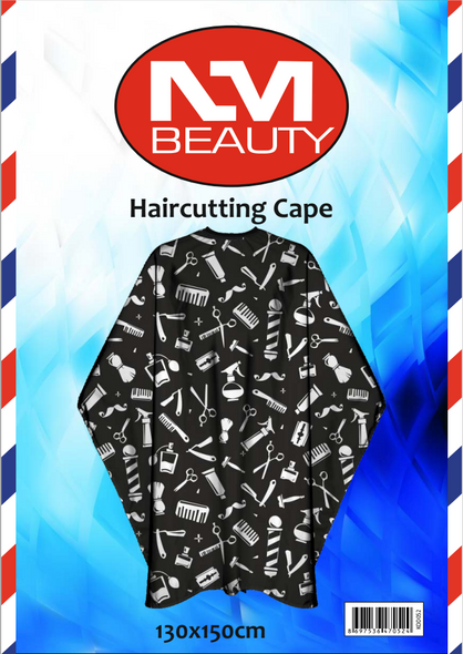 NMB Professional Black Printed Barber Tools Gown/Large Cape for Salons,Hairdressers & Barbers with adjustable black metal clip 130X150cm