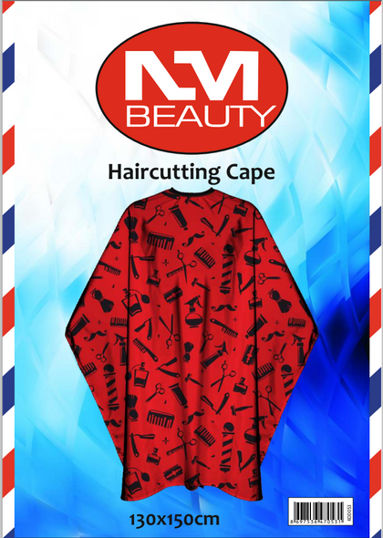 NMB Professional Red Printed Barber Tools Gown/Large Cape for Salons,Hairdressers & Barbers with adjustable black metal clip 130X150cm