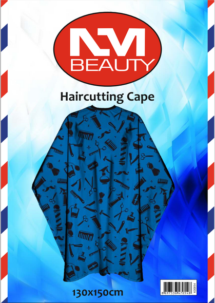 NMB Professional Blue Printed Barber Tools Gown/Large Cape for Salons,Hairdressers & Barbers with adjustable black metal clip 130X150cm