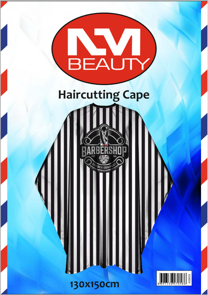 NMB Professional White&Black Striped Cutting Cape for Salons,Hairdressers & Barbers with adjustable black metal clip 130X150cm