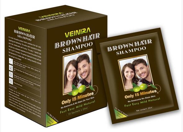 Veinira hair color shampoo (Brown) 10 packs of 25ml