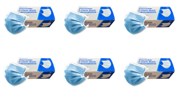 3 Layer Disposable Face Masks - 6 Box of 50PCS