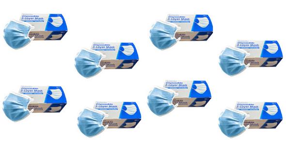 3 Layer Disposable Face Masks - 8 Box of 50PCS