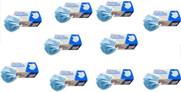 3 Layer Disposable Face Masks - 10 Box of 50PCS
