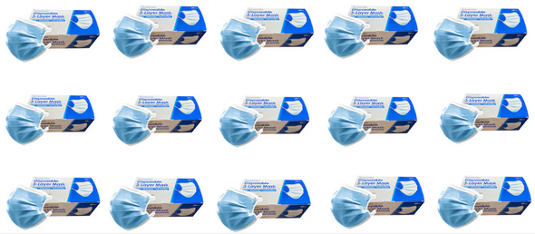 3 Layer Disposable Face Masks - 15 Box of 50PCS
